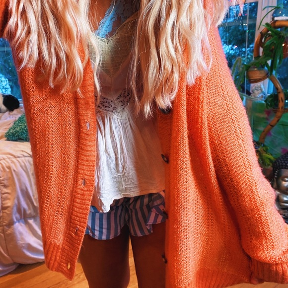 Orange Tortoise Button Hippy Cardi ✨
